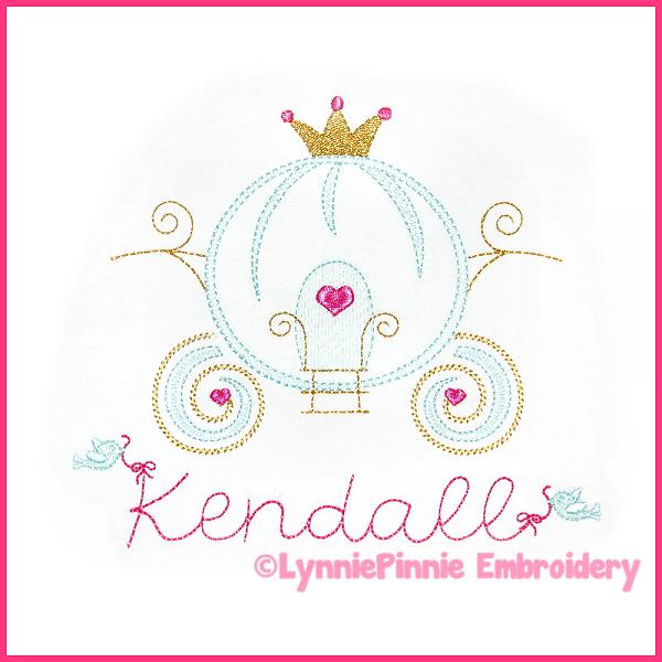 Pretty princess carriage colorwork sketch embroidery