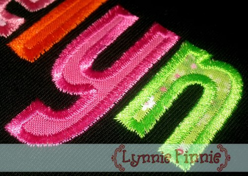 Mini applique alphabet inches welcome to lynnie pinnie