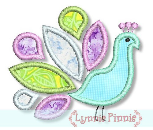 Peacock Applique 4x4 5x7 6x10 - Welcome to Lynnie Pinnie com