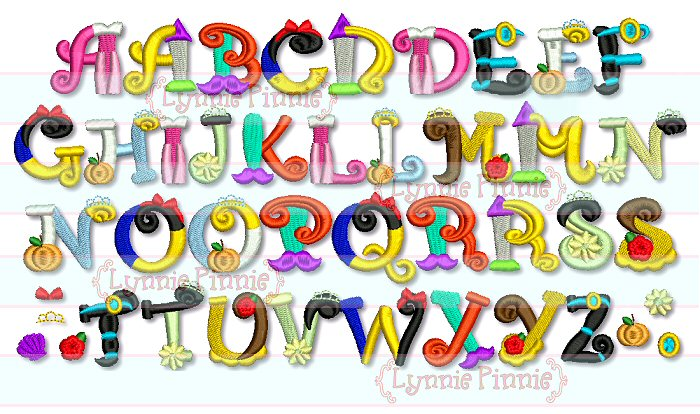 Pretty Princess Alphabet Embroidery Font 3 Sizes Welcome To