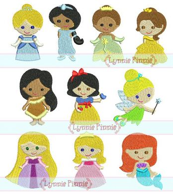 Mini Princess Design Set 10 Filled Minis In 3 Sizes 4x4 Welcome